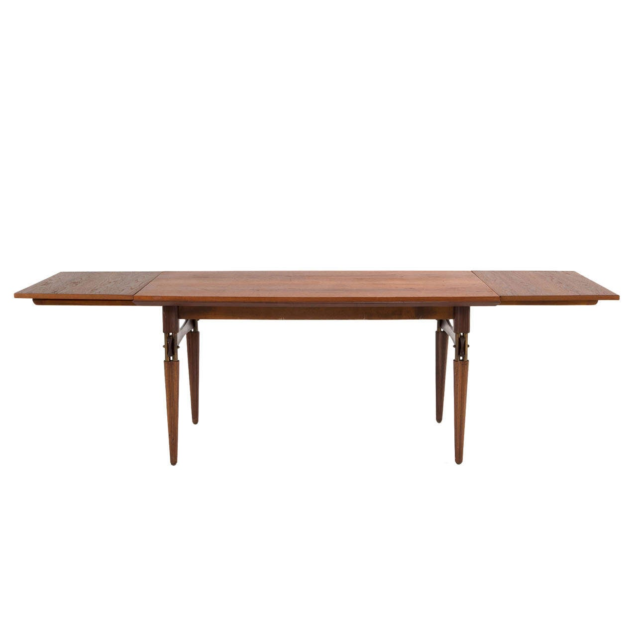 Italian Extendable Dining Table Refined Italian Teak Extendable Dining Table With Brass Accents