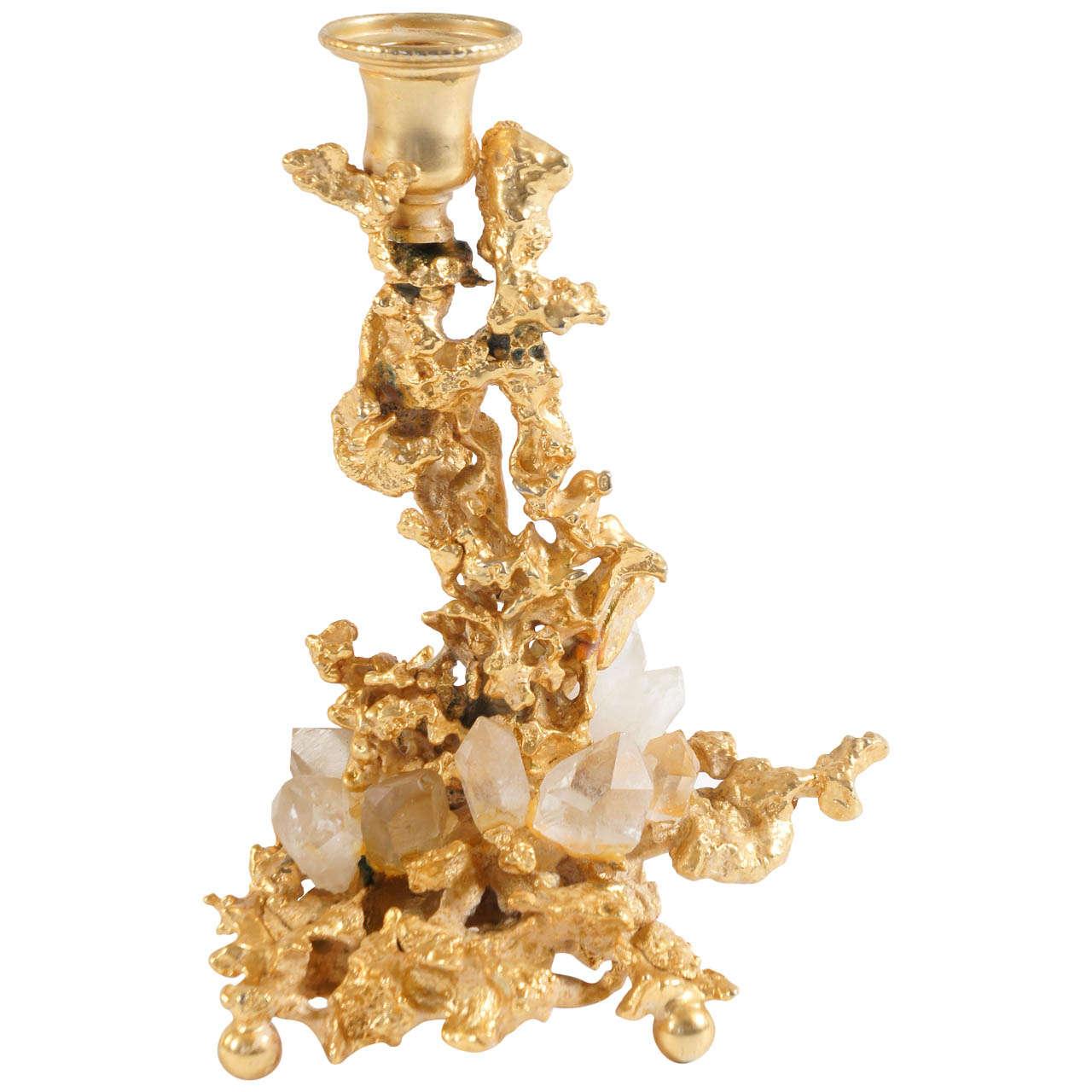 Claude Boeltz gilt-bronze-and-rock-crystal candlestick, ca. 1975