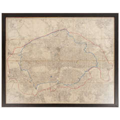 19th Century London Postal Map of Large Scale - Framed