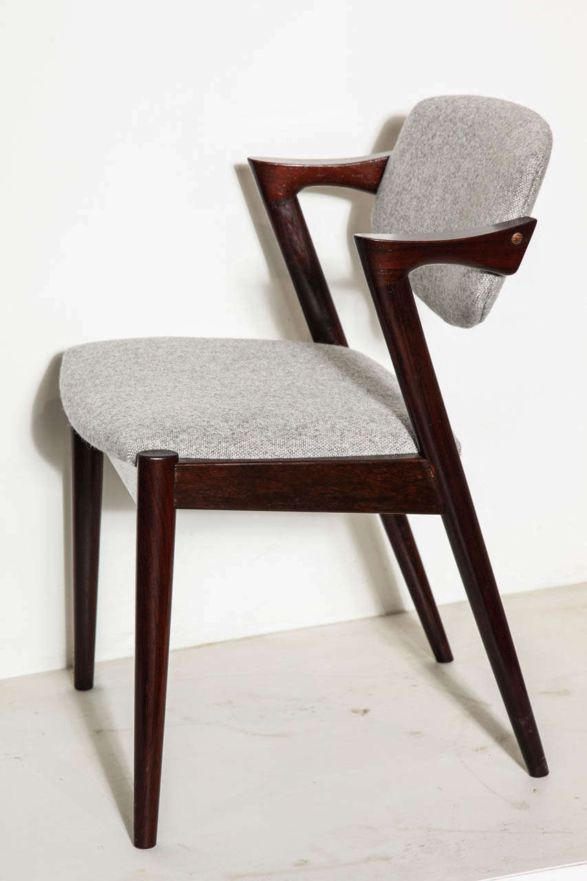 Set of 6 rosewood dining chairs by kai kristiansen at 1stdibs - Kai kristiansen chairs ...