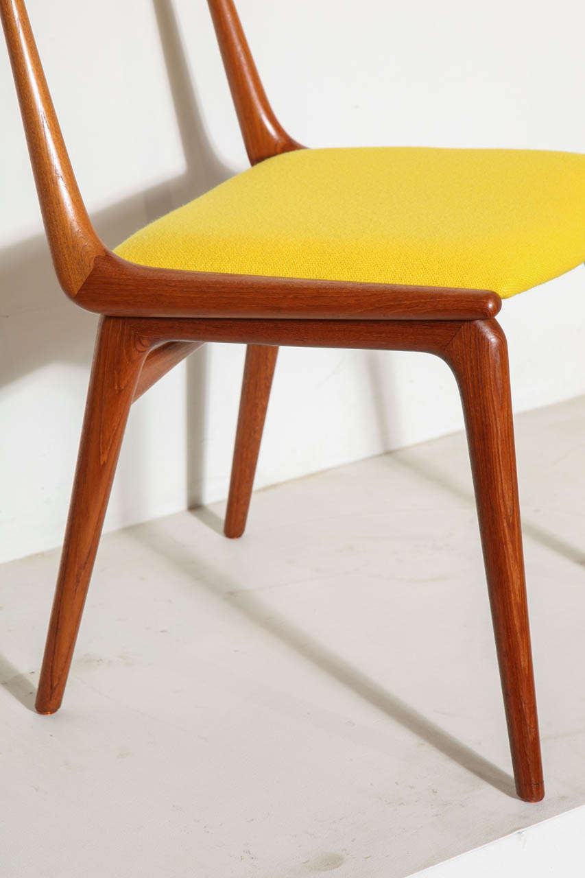 Set Of 4 Teak Yellow Boomerang Dining Chairs By Erik Christensen 3