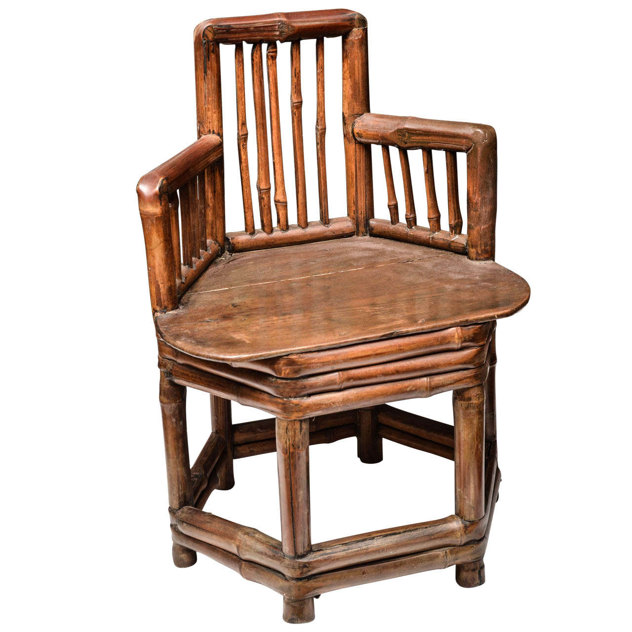 Mid-Late 19th Century Q'ing Dynasty Ningbo Bamboo Child's Chair with Elm Seat