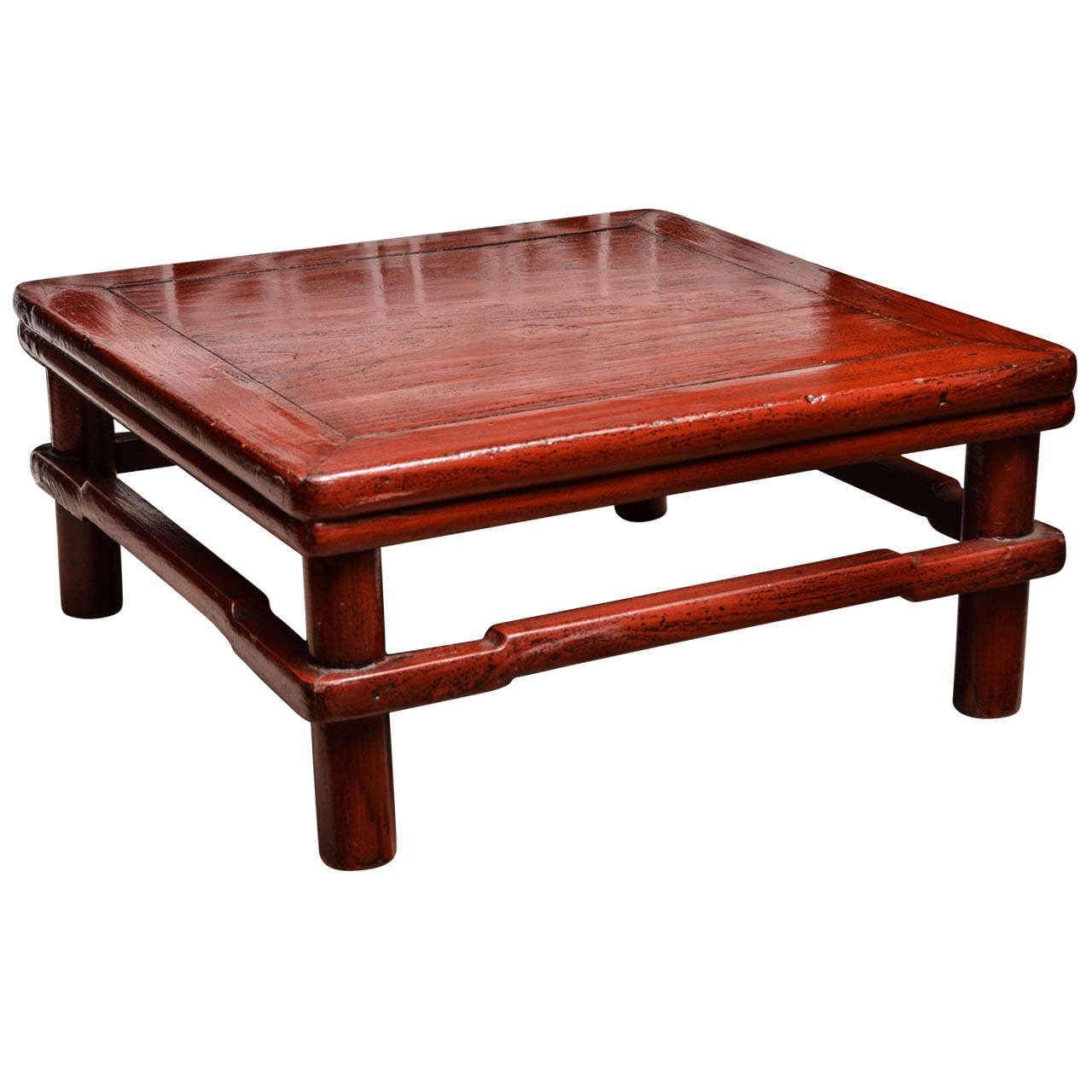 Turn of the Century Qing Dynasty Red Lacquered Southern Elm Kang Table