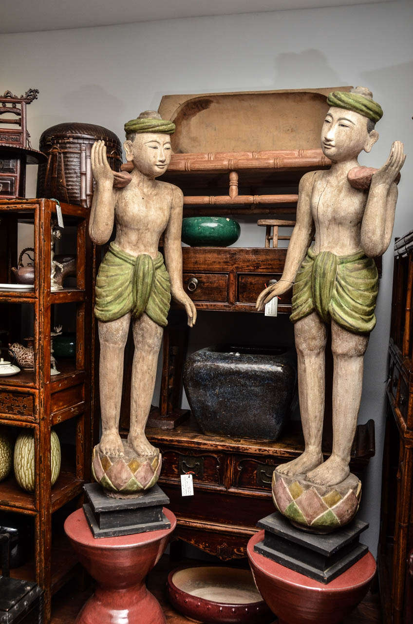 Pair of Late 19th Century Burmese Lacquered Temple Statues 2
