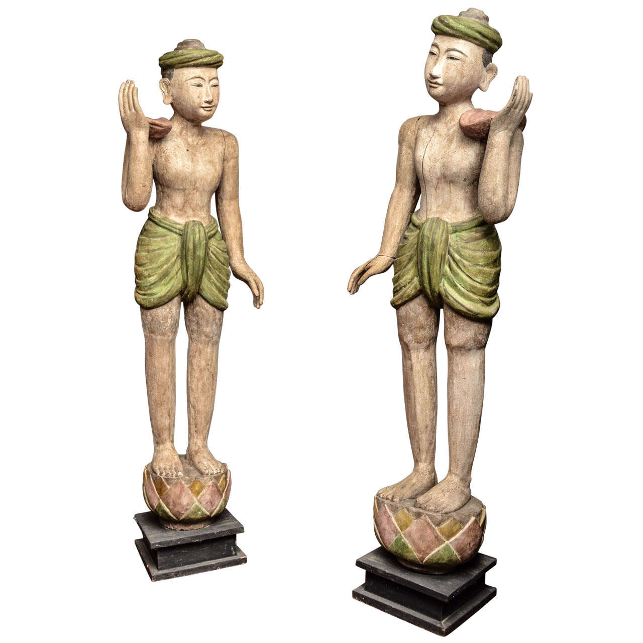 Pair of Late 19th Century Burmese Lacquered Temple Statues 1