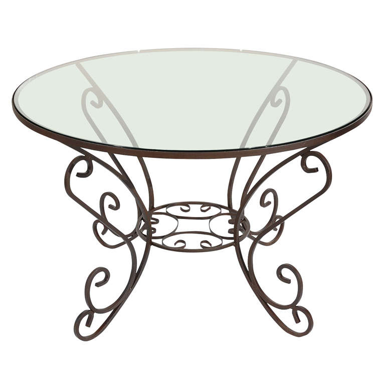 Early 20th century Iron Dining Table with Glass Top, Indoor or Outdoor