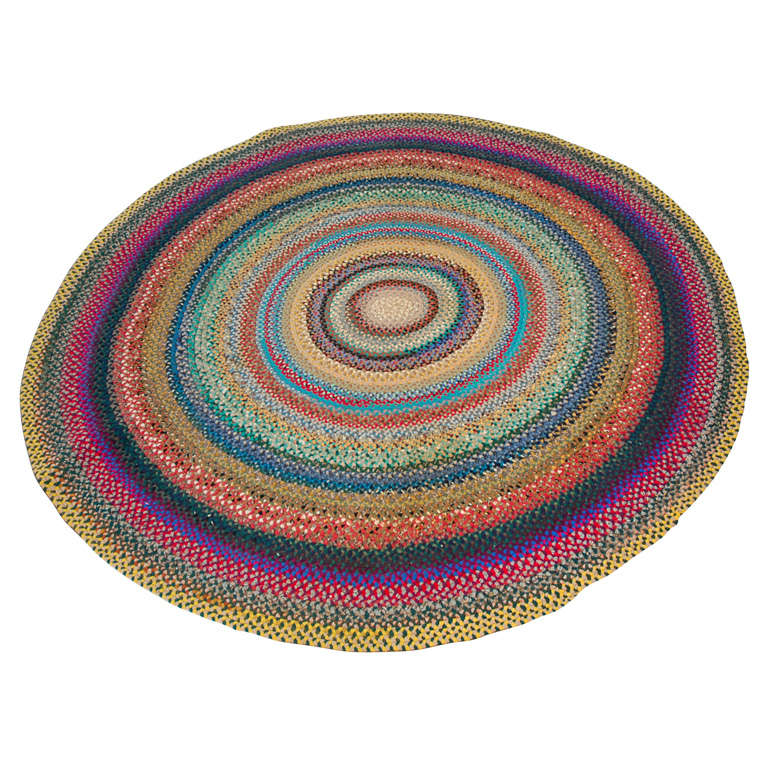 Fantastic 1930 S Hand Braided Wool Round Rug At 1stdibs