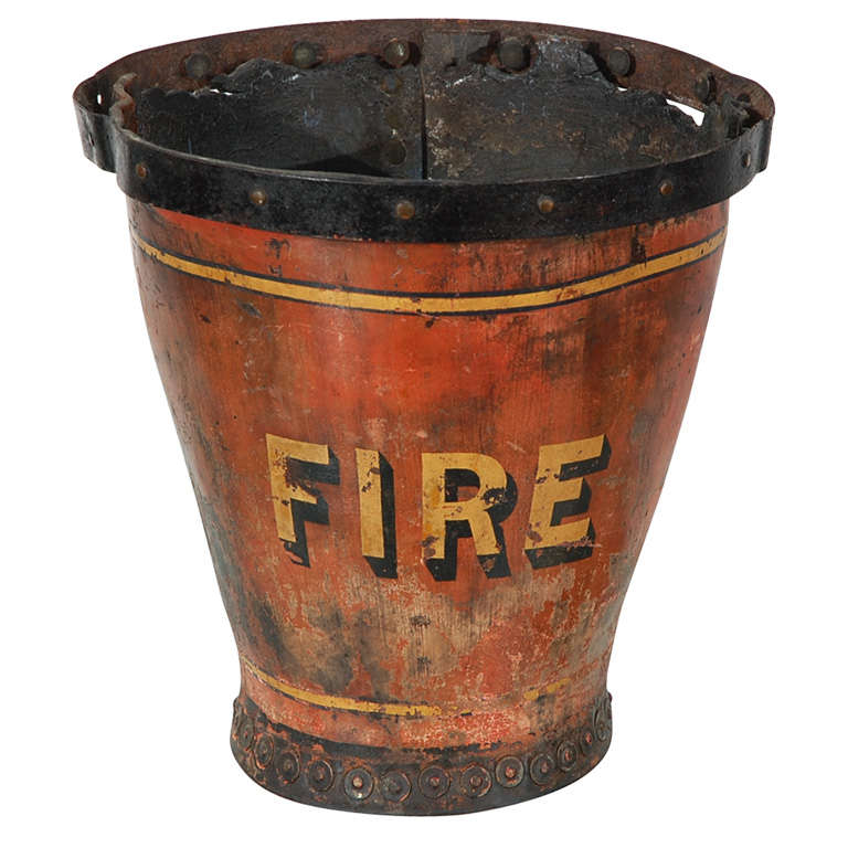 Fantastic Original Painted 19thc Leather Fire Bucket At