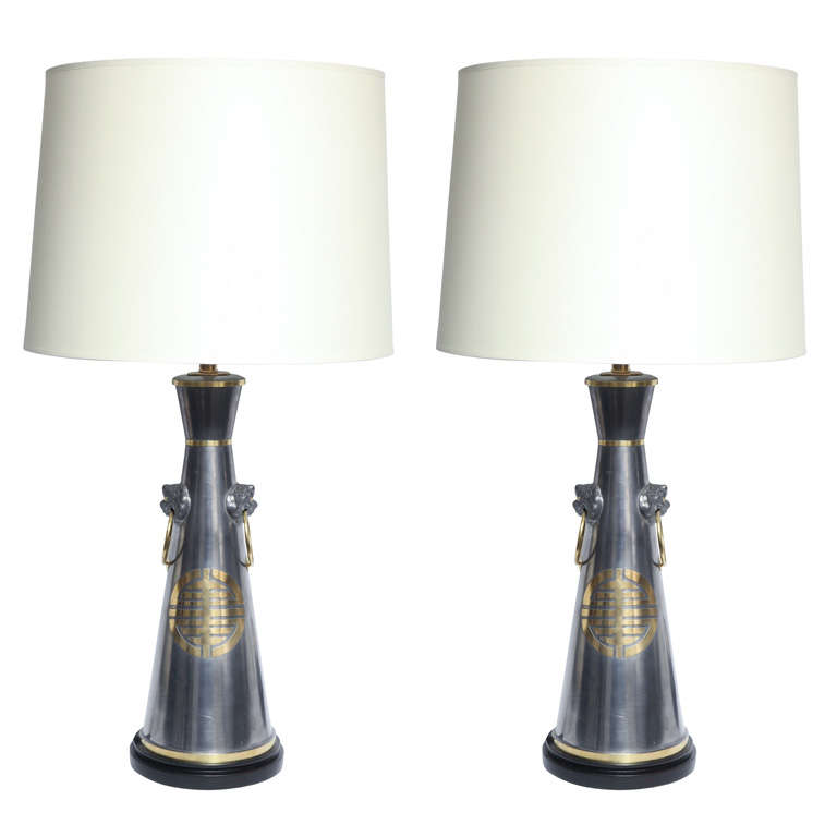 Pair of Asian Modern Pewter Lamps with Brass Accents