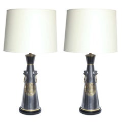 Table Lamps Pair Modernist Asian Forms pewter and brass 1950's