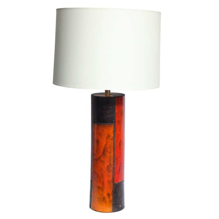 1950s Italian Modernist Ceramic Table Lamp by Aldo Londi