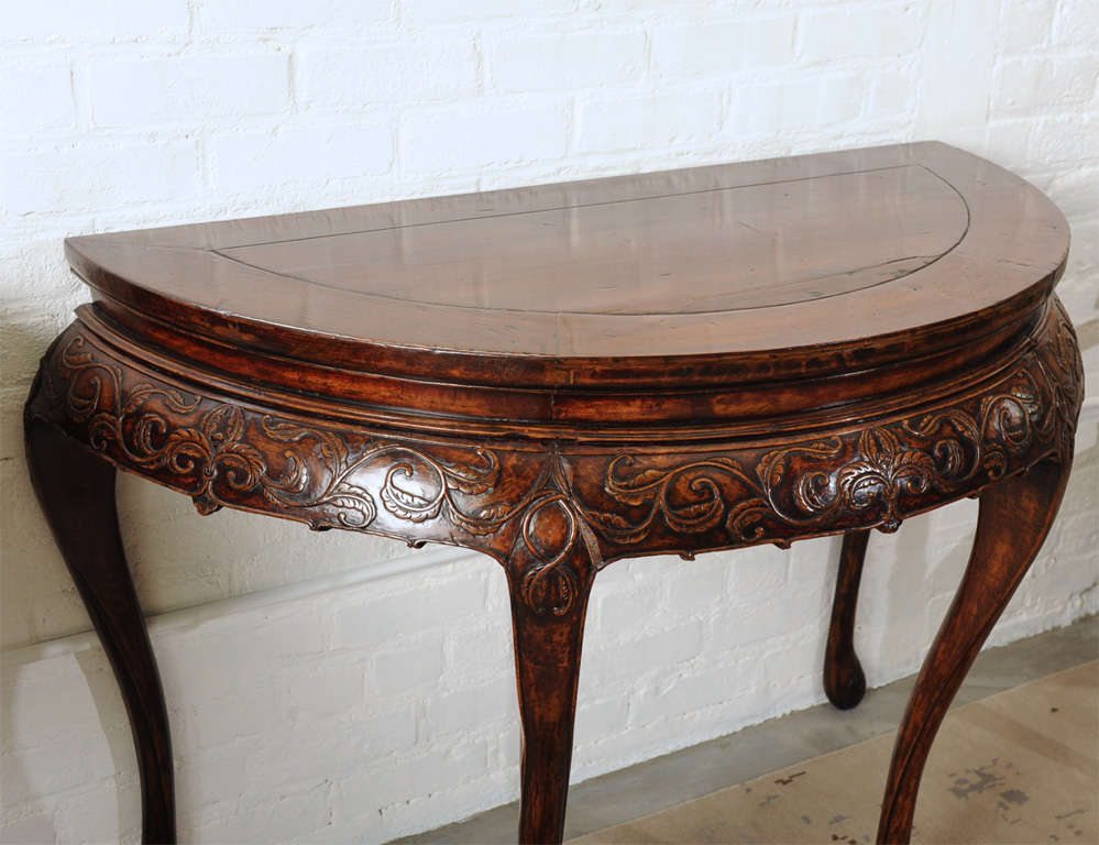 Pair of 19 century hand carved demi lune chinese tables at for Hand carved asian furniture