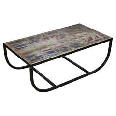 1950s Gabriel Loire Stained Glass, Concrete and Iron Window or Coffee Table