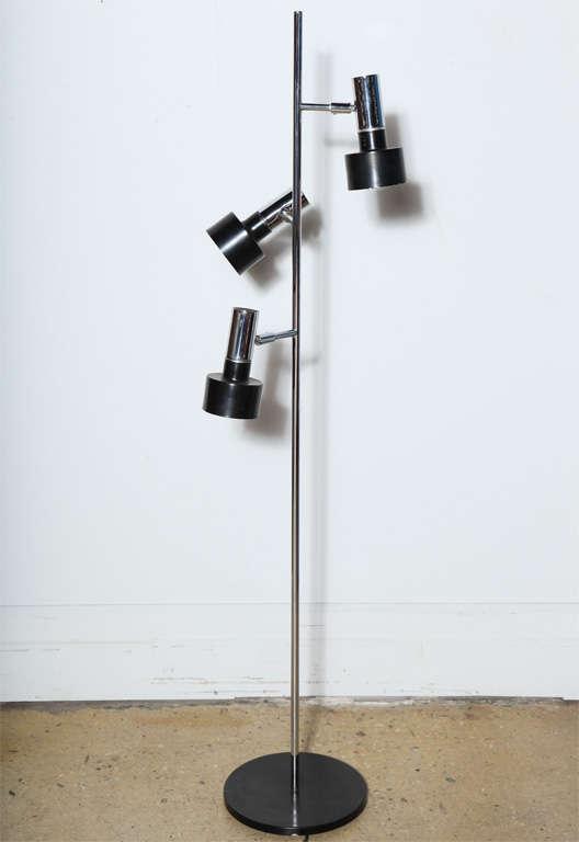 1960s Adjustable Three Head Floor Lamp in Black Enamel and ...