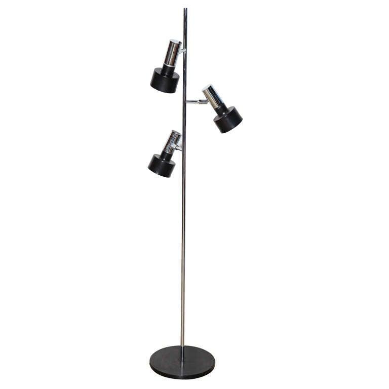 Jo Hammerborg Manner Chrome and Black Enamel Three Head Floor Lamp, 1960s