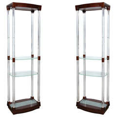 Pair of 1970s Rosewood and Lucite Etageres with Four Adjustable Glass Shelves