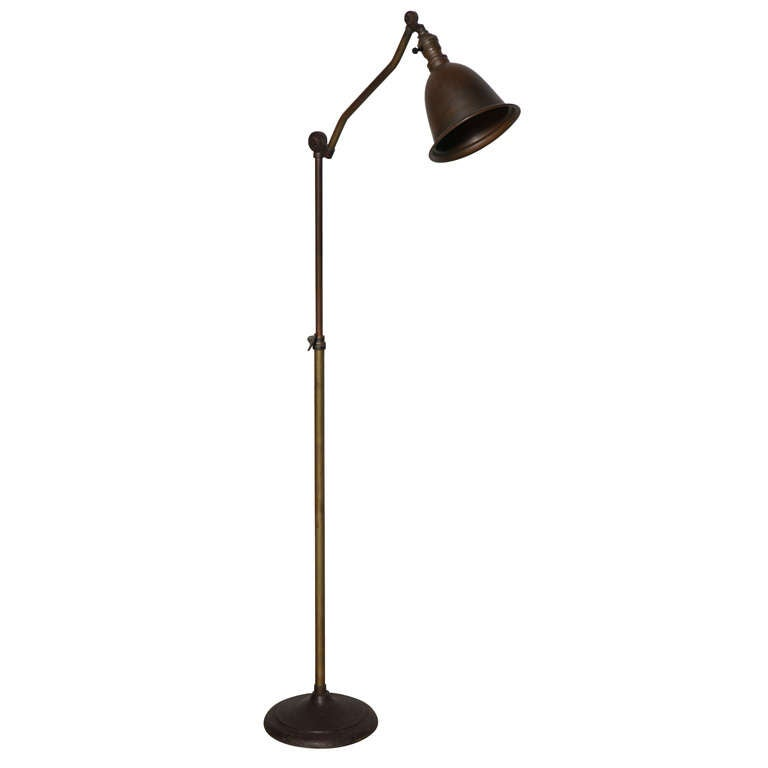 C. 1920u0027s Weldon Industrial Articulating Brass Floor Lamp With Cast Iron  Base For Sale