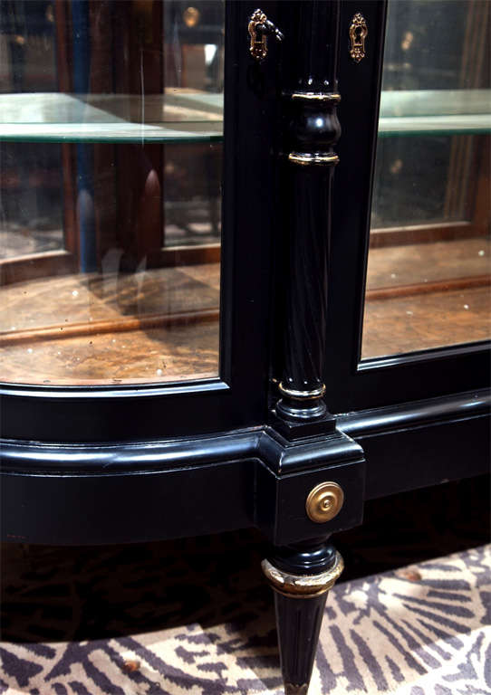 Mid-20th Century French Directoire Style Ebonized Curio Cabinet by Jansen