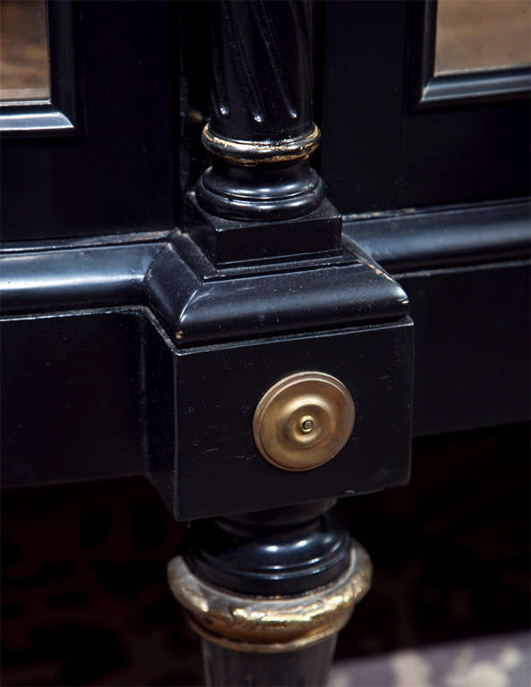 French Directoire Style Ebonized Curio Cabinet by Jansen 3