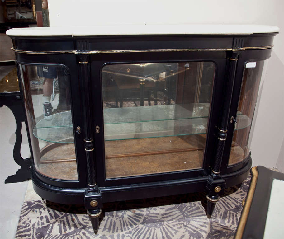 French Directoire Style Ebonized Curio Cabinet by Jansen 4
