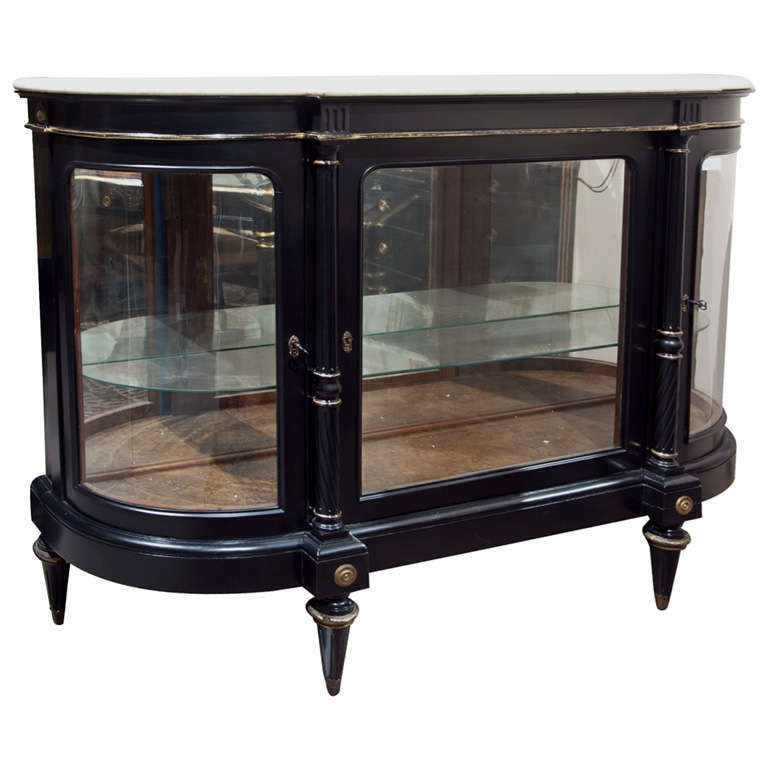 French Directoire Style Ebonized Curio Cabinet by Jansen