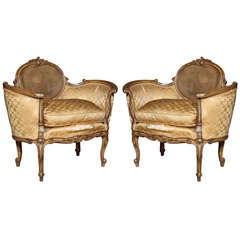 Pair of French Rococo Style Armchairs