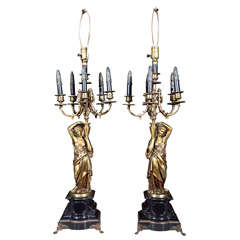 Pair of French Neoclassical Style Bronze Lamps