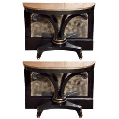 Pair of Ebonized Plume Consoles by Jansen