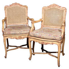 Pair of French Louis XV Style Caned-Back Armchairs