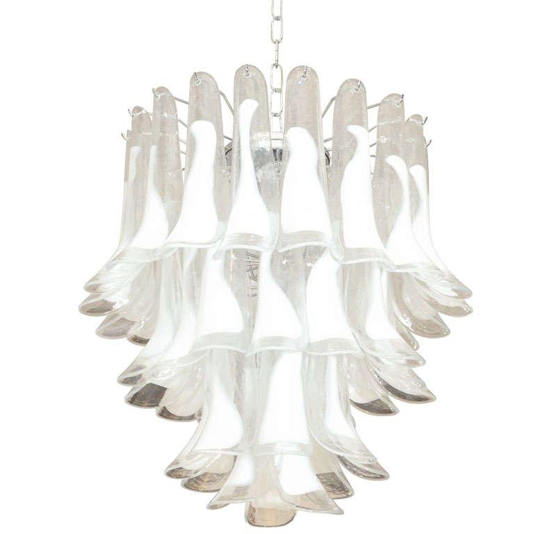 Elegant Mazzega Style White Feather Murano Chandelier at 1stdibs – White Murano Chandelier