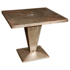 Italian Art Deco Square Top Metal Table on Tapered Pedestal Base