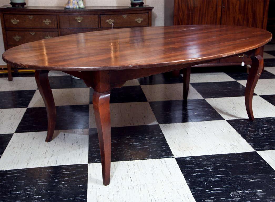 Custom Cherry Oval Farm Table at 1stdibs
