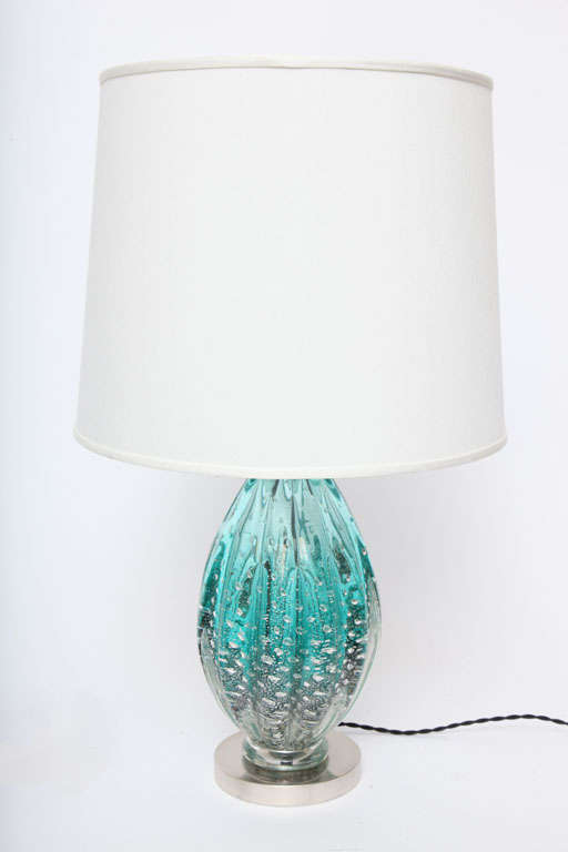 A 1950s Italian art glass table lamp by Seguso. Shade not included