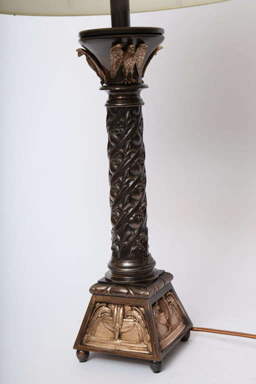 20th Century Pair of Austrian Classical Modern Bronze Table Lamps For Sale