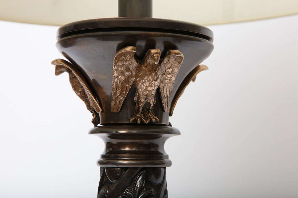 Ormolu Pair of Austrian Classical Modern Bronze Table Lamps For Sale
