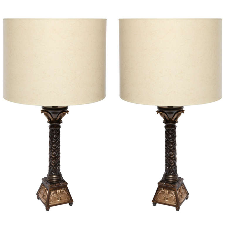 Pair of Austrian Classical Modern Bronze Table Lamps For Sale