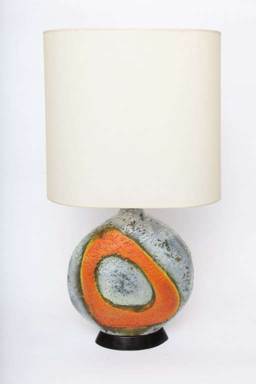 A Pair of  Italian 1950's Sculptural Ceramic Table Lamps signed Fantoni