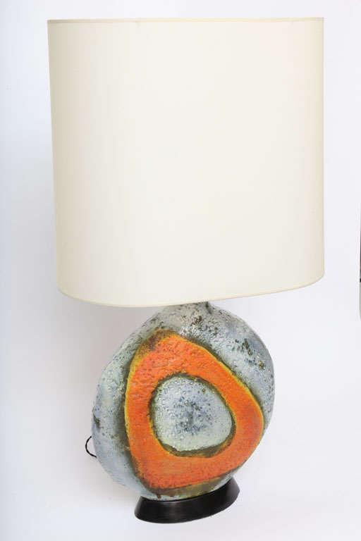 Italian A  Pair of 1950's Sculptural Ceramic Table Lamps signed Fantoni For Sale