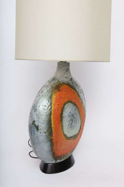 A  Pair of 1950's Sculptural Ceramic Table Lamps signed Fantoni For Sale 2