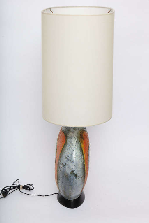 A  Pair of 1950's Sculptural Ceramic Table Lamps signed Fantoni For Sale 3