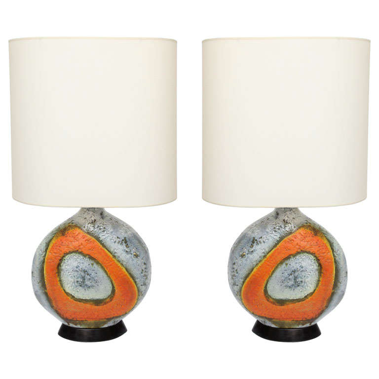 A  Pair of 1950's Sculptural Ceramic Table Lamps signed Fantoni For Sale