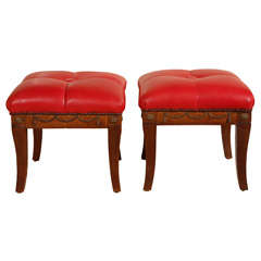 Pair of 19th c. French Walnut Stools