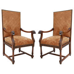 19th Century Italian Carved Walnut Armchairs