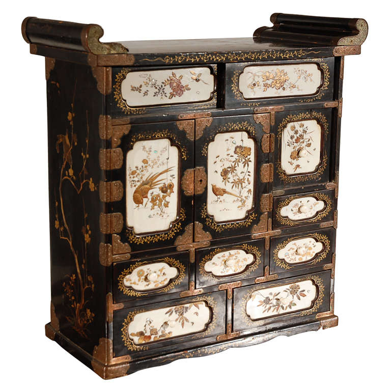 19th C Japanese Lacquered Cabinet With Ivory Panels At