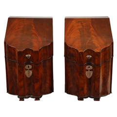 Pair of 18th Century English Mahogany Knife Boxes