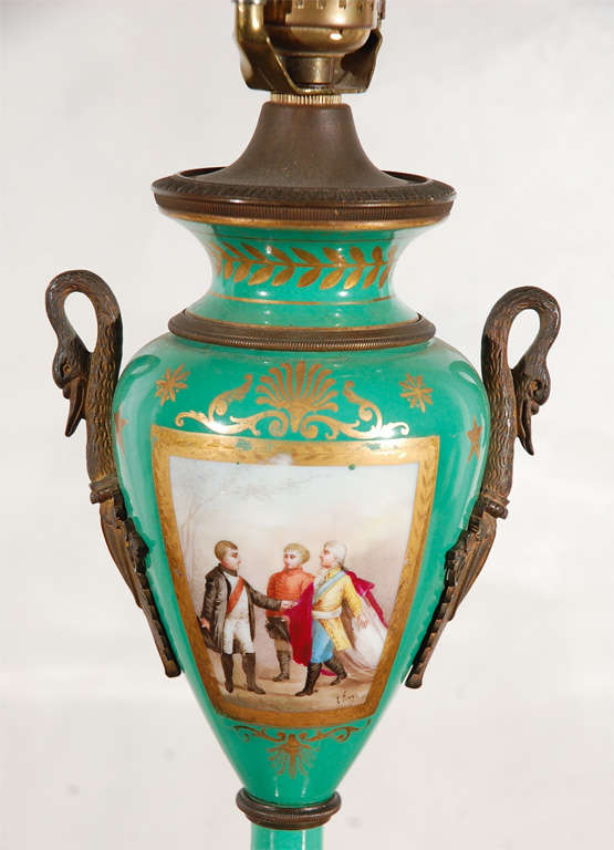 19th Century French Hand-Painted Sevres Lamp In Excellent Condition For Sale In Los Angeles, CA