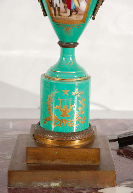 Bronze 19th Century French Hand-Painted Sevres Lamp For Sale