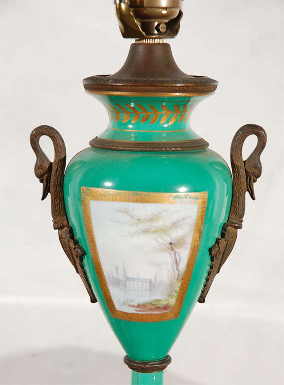 19th Century French Hand-Painted Sevres Lamp For Sale 3
