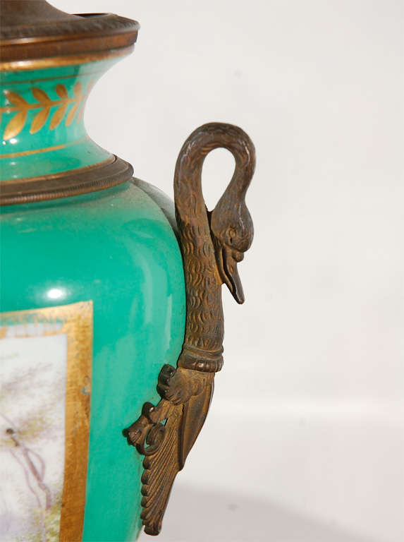 19th Century French Hand-Painted Sevres Lamp For Sale 5