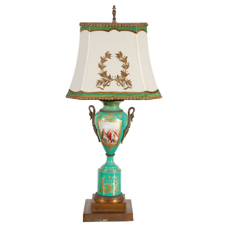 19th Century French Hand-Painted Sevres Lamp For Sale